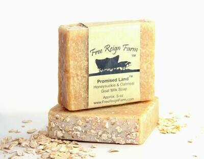 <strong>Promised Land  </strong><br> Honeysuckle & Oatmeal  <br> Goat Milk Soap
