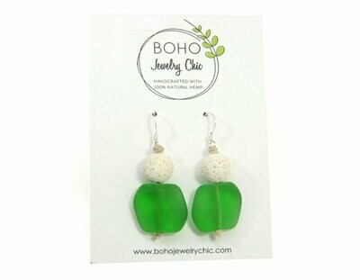 <strong>Green Sea Glass Earrings</strong><br>Essential Oil Jewelry