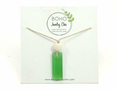 <strong>Green Sea Glass Necklace</strong><br>Essential Oil Jewelry