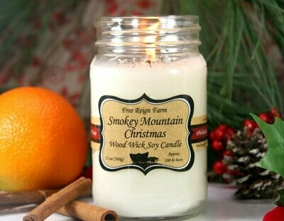 Smokey Mountain Christmas Wood Wick Soy Candle