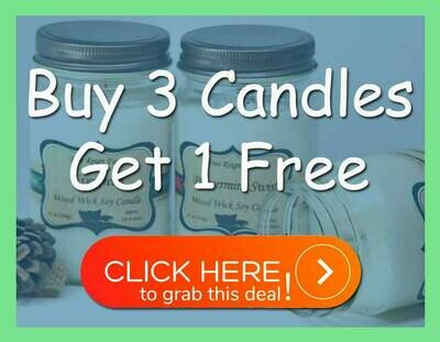 <strong>Wood Wick Soy Candles</strong><br>Buy 3 Get 1 Free Deal