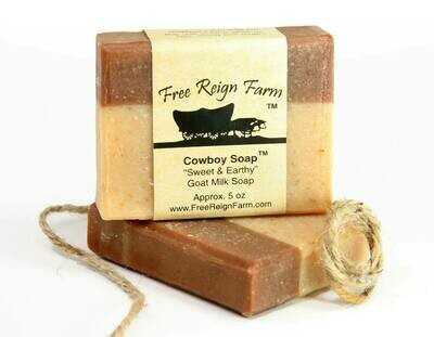 <strong>Cowboy Soap </strong><br>Sweet & Earthy <br>Goat Milk Soap