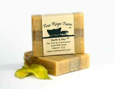 <strong>Earth and Sky  </strong><br> Tea Tree & Lemongrass  <br> Goat Milk Soap