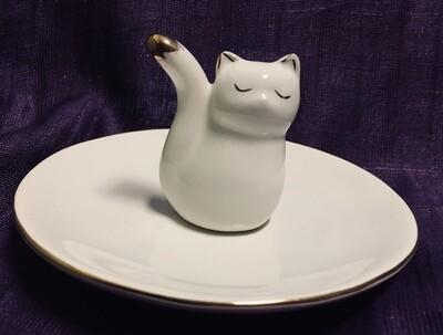 White Cat Jewelry Dish