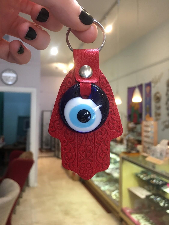 Evil Eye Hamsa Hand Keychain