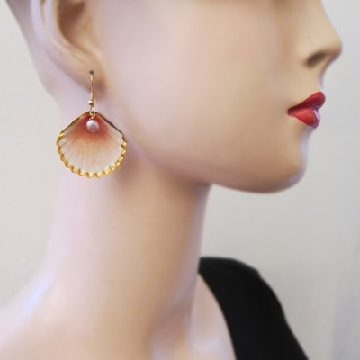Boucles d'oreille Coquillage - 2 perles