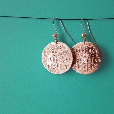 Boucles d'oreille Médaille - Or Rose