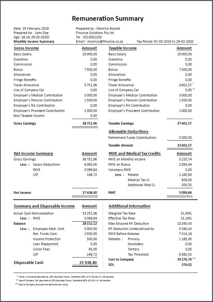 Salary Planner 2020