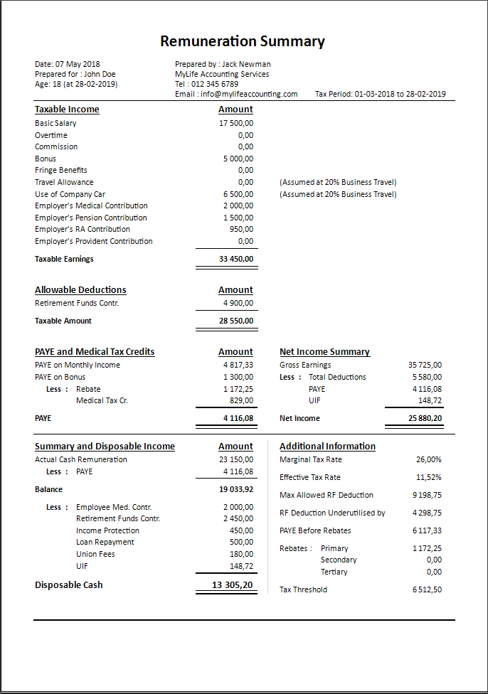 Salary Planner 2019