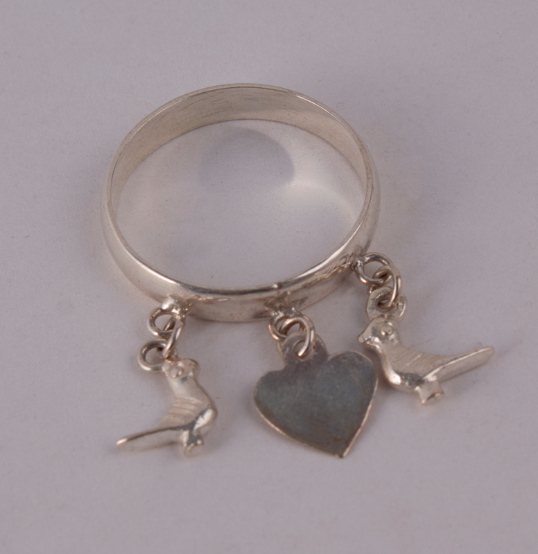 Silver Ring Pigeons & Heart