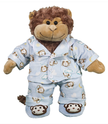 Monkey PJ Outfit with Slippers - 16 inches