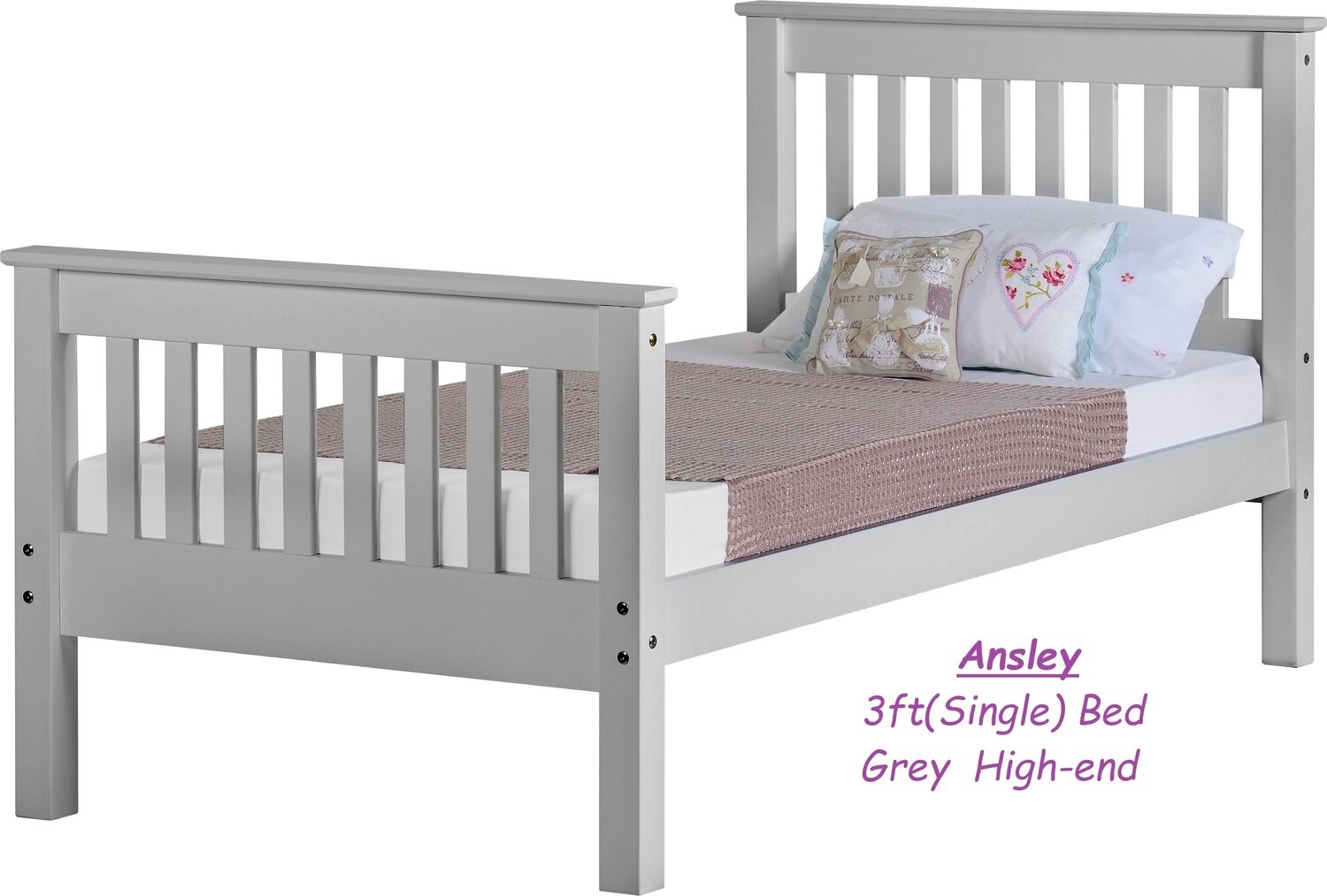 Ansley 3' Bed (Single) Grey High-end