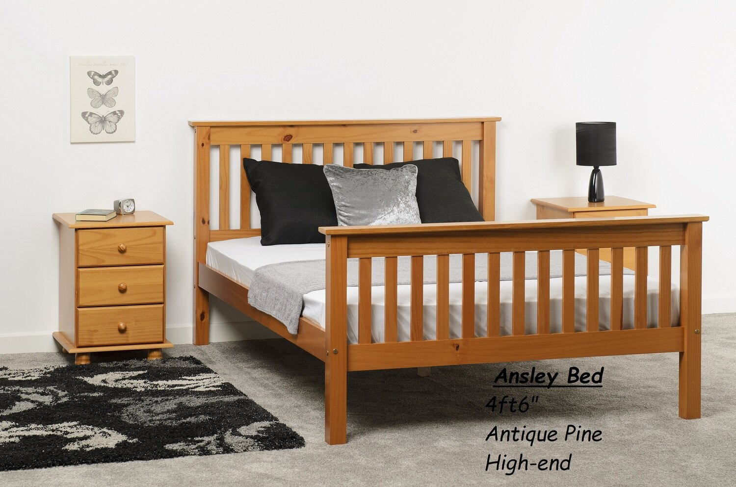 """Ansley 4ft6"""" Bed Antique Pine High-end"""
