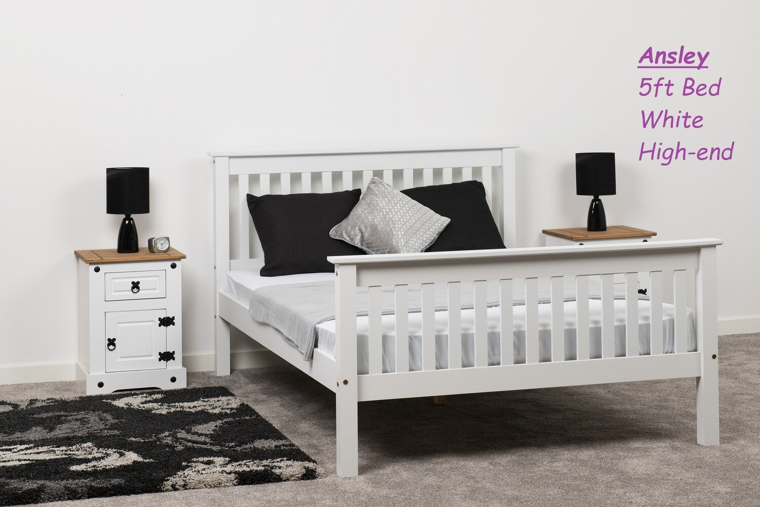 Ansley 5ft Bed White High-end