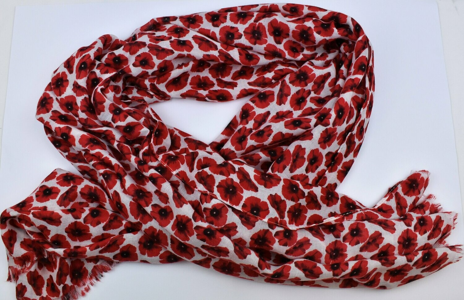 Ladies Scarf Small Poppies White