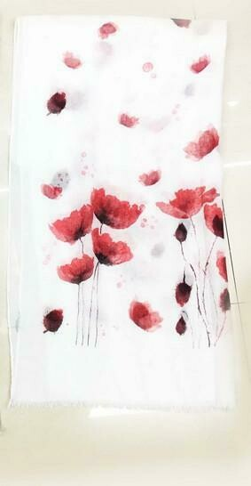 Scarf Poppy Watercolour - White/Red