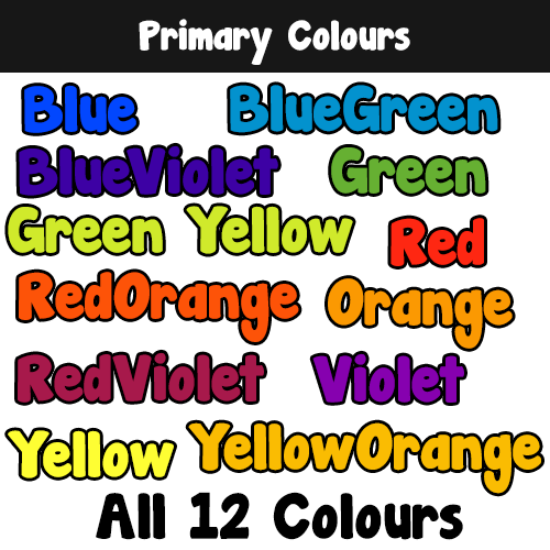Primary Colours Alphabet, Number & Punctuation Clipart 00069