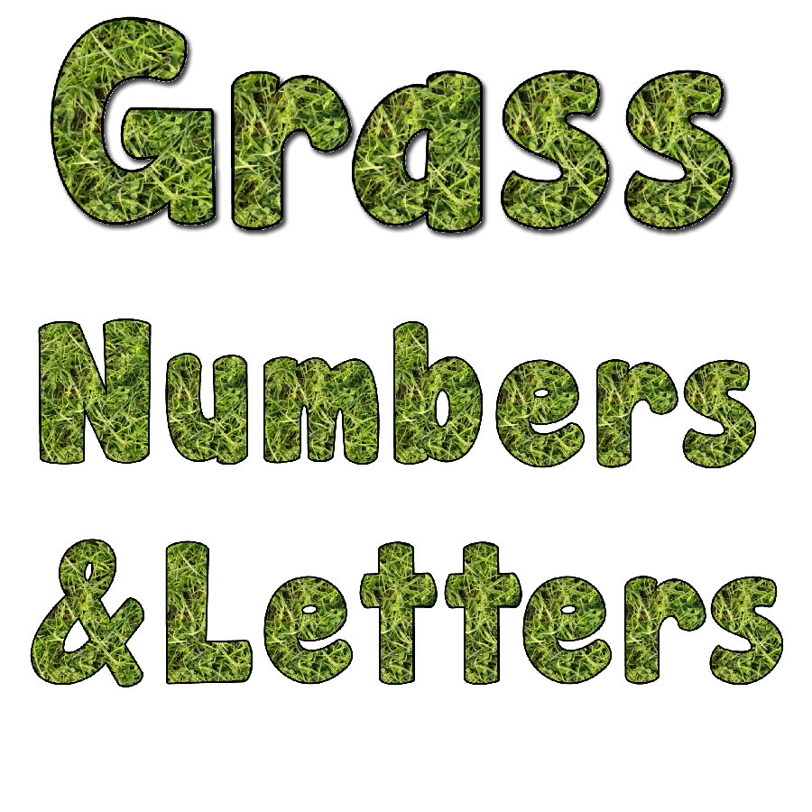 Reggio Inspired Natural Grass Alphabet and Numbers Clip Art 00072