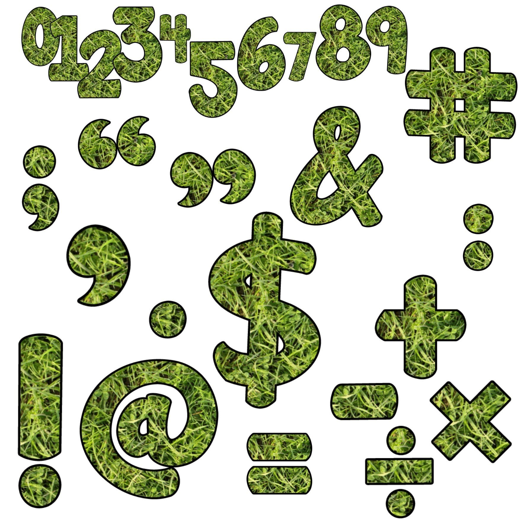 Grass Clip Art Numbers Punctuation and Symbols