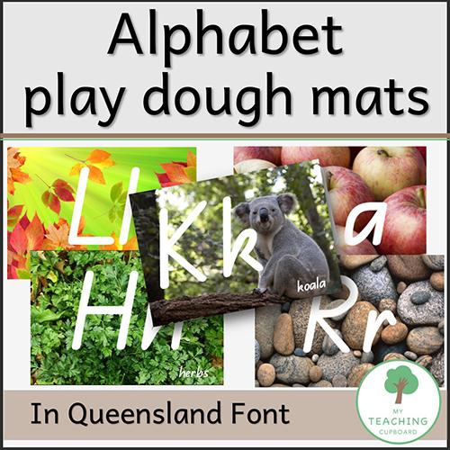 Play Dough Alphabet Mats in Queensland Beginner's Font 00075