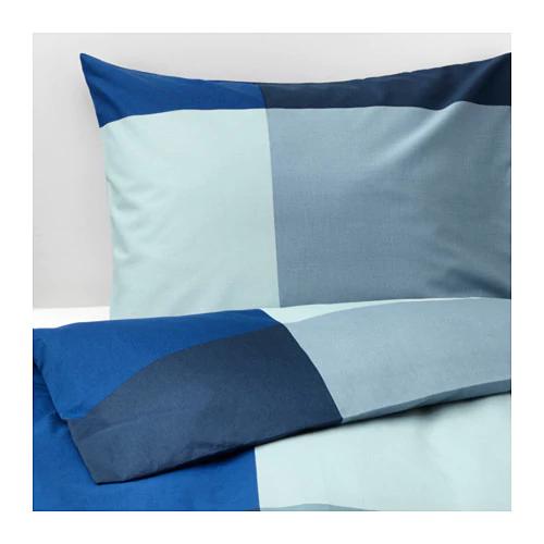 БРУНКРИСЛА Пододеяльник и 2 наволочки, синий, серый, 200х200/50х70 см