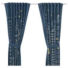 ХЕММАХОС Гардины с прихватом, 1 пара, темно-синий, 120*300 см 2 шт.
