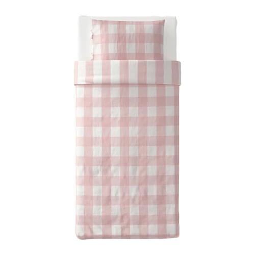 ЭММИ РУТА Пододеяльник и 1 наволочка, светло-розовый, белый  150*200/ 50*70