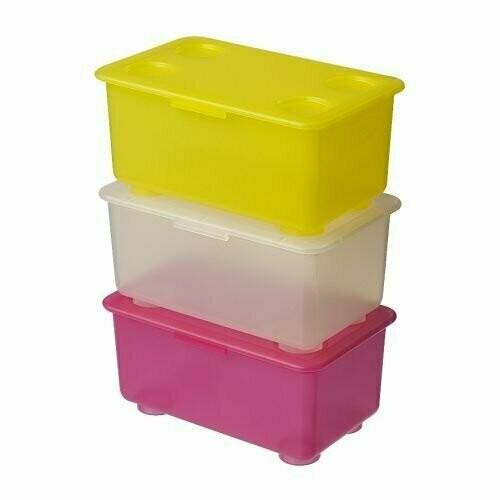 Контейнер с крышкой ГЛИС , розовый/белый, желтый, 3 шт.,17x10 см