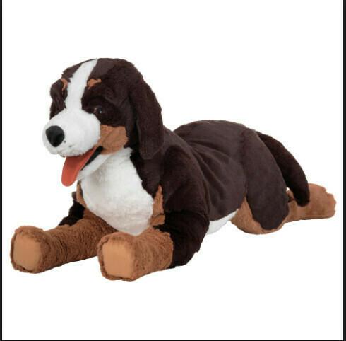 Мягкая игрушка ХОППИГ , собака, бернская овчарка черный\белый  63 см