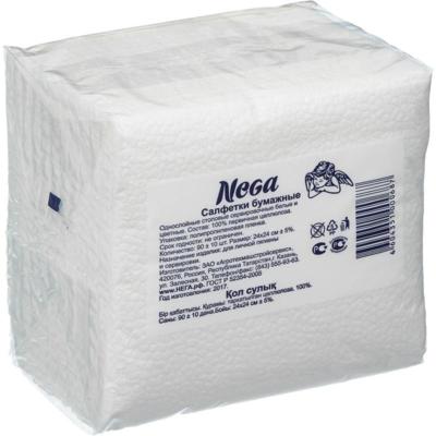 Салфетки бумажные НЕГА/90 шт  24х24