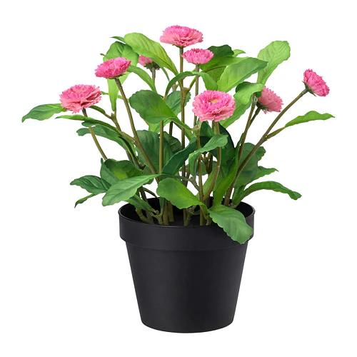 ФЕЙКА Искусственное растение в горшке, д/дома/улицы, Маргаритка многолетняя розовый
