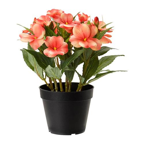ФЕЙКА Искусственное растение в горшке, Недотрога оранжевый