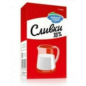 """Молочные сливки """"Чудское озеро"""" ультрапастеризованные жирные 33%, 1 литр"""