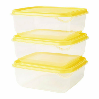 ПРУТА Контейнер, прозрачный, желтый\3 шт, 0.6 л