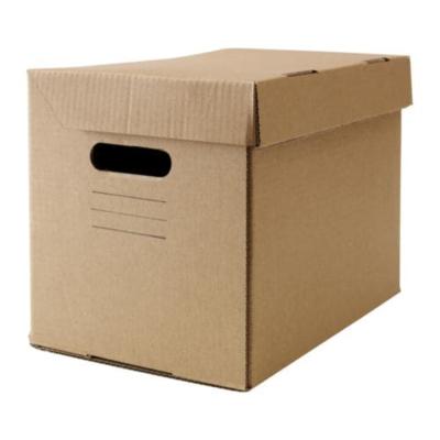 ПАППИС Коробка с крышкой, коричневый 25x34x26 см
