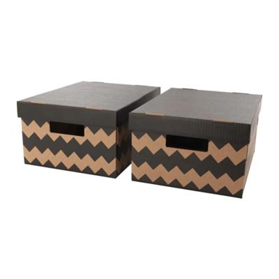 ПИНГЛА Коробка с крышкой, черный, естественный / 2 шт 28x37x18 см