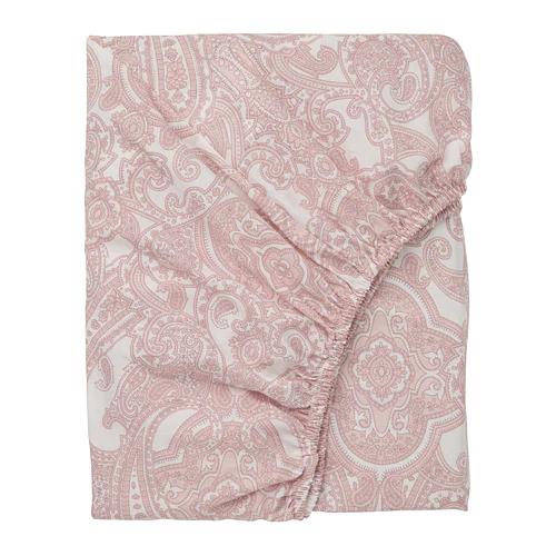 ЙЭТТЕВАЛЛМО Простыня натяжная, белый, розовый  160х200