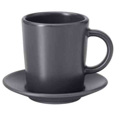ДИНЕРА Чашка для кофе эспрессо с блюдцем, темно-серый, 9 сл