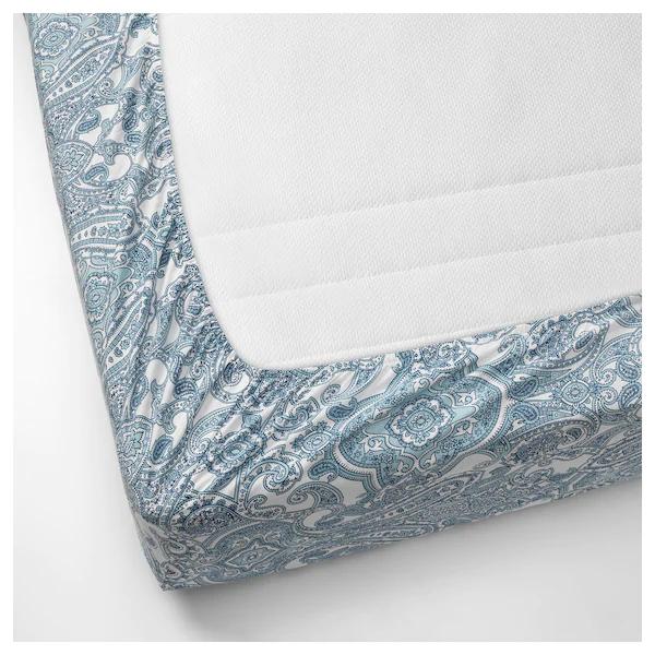 ЙЭТТЕВАЛЛМО Простыня натяжная, белый, синий, 140x200 см