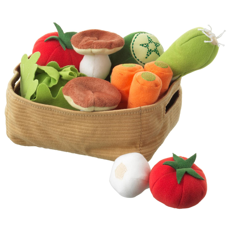 ДУКТИК Мягкая игрушка, овощи 14 предметов