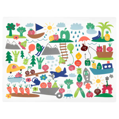 МЭТВРО Салфетка под приборы, орнамент «фрукты/овощи», разноцветный, 40x30 см