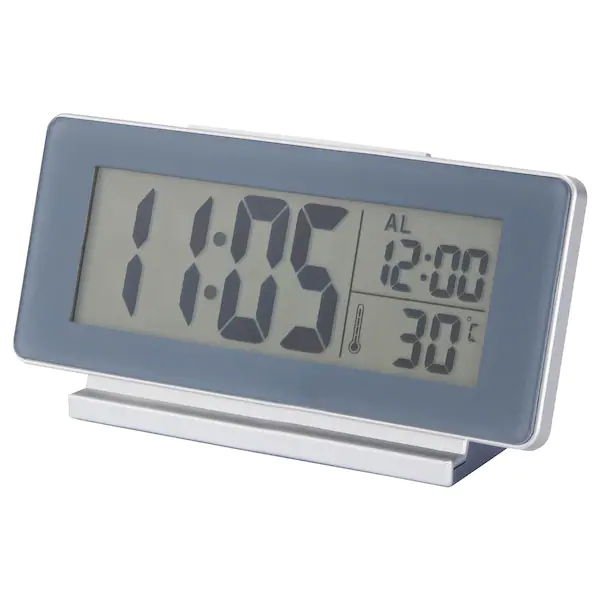 ФИЛЬМИС Часы/термометр/будильник, серый Ширина:  16.5 см/ Глубина:  4 см Высота:  8 см