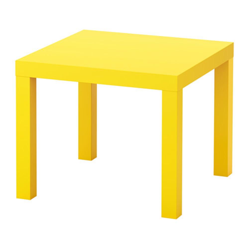 Придиванный столик ЛАКК, желтый /55x55 см
