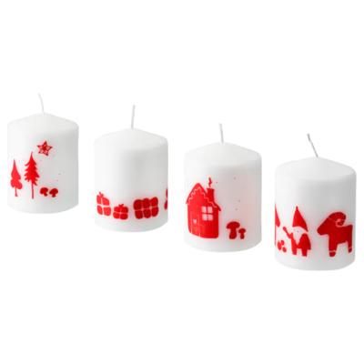 ВИНТЕРФЕСТ Неароматическая свеча формовая, Санта Клаус, белый, 8 см
