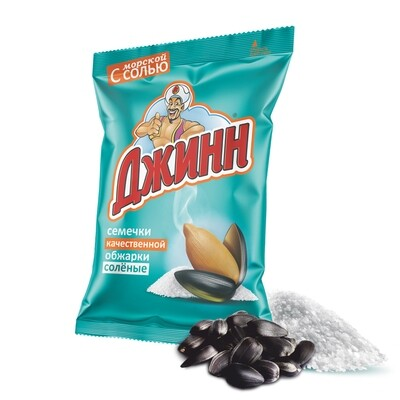 Семечки качественной обжарки соленые ДЖИНН, 350 гр.