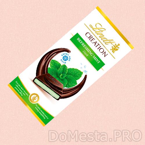 Шоколад LINDT темный с натуральной мятной начинкой 150 гр.