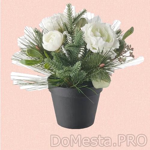 ВИНТЕРФЕСТ Искусственное растение в горшке, оформление белый, 12 см