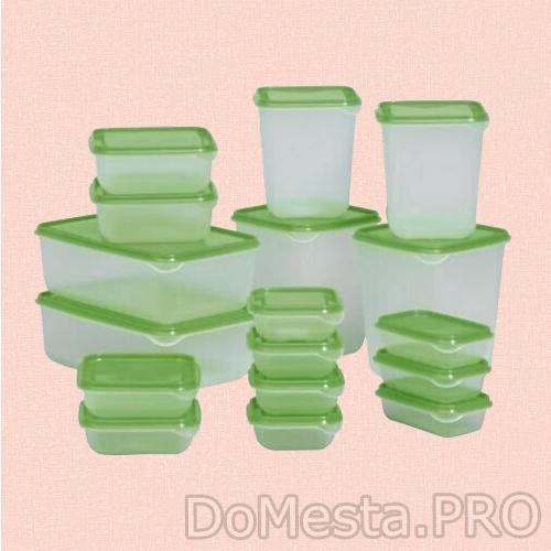 Набор контейнеров ПРУТА, 17 шт., прозрачный, зеленый