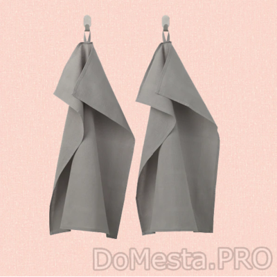 ИРИС Полотенце кухонное, серый, 50x70 см/2 шт