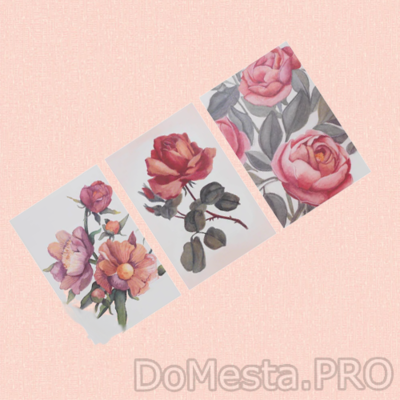 БОККАРА Открытка, Цветы розовый, 10x15 см/3шт